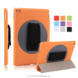 High Quality Tripled Folded 360 Degree Rotating Flip Cover Smart Awakening Case for iPad Air 2 for iPad 6