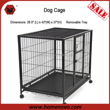 "High Quality Hot Sales 28.5""L x 43""W x 37""H Welded Mesh Iron Black Large Dog Cage With Wheels"