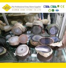 Wooden Based Rough semi-precious agate stone slices price