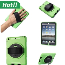 High Quality Hardshell Portable Handheld Rotating Holder Splash Resistant Case Cover For iPad Mini With PU Leather Hand Strap