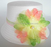 white fancy paper with big flower kids party hats