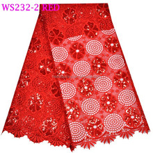 WS232-2 sequin bright red color guipure laces fabric with plain color design