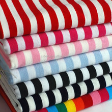100% cotton knitting yarn dyed with colorful stripe single Lycra Jersey Fabric