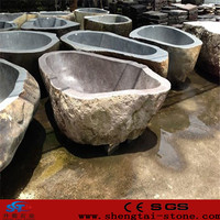 artificial composite old used round stone bathtub