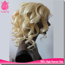14inch 613 blonde wavy wholesale virgin malaysian hair glueless lace front wig