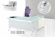 Hot selling tempered glass top with metal leg glass office executive table/desk