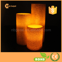 LED Bar Candle Light Traditional Pillar Paraffin LED Candle Glitter Decorative Candles