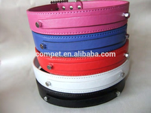 2.5cm Width Beautiful Durable Use DIY Matte Finish PU Leather Dog Pet Collar with Letter Charm Straps for Your Pets