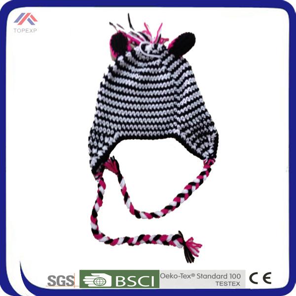 Niños ganchillo mano gorro de lana patrones de invierno animal ...