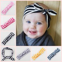 Wholesale stripe kids rabbit ear bunny headband baby infant knot wrap bunny headband
