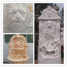 Well carved white marble stone lion head fountain