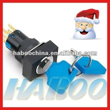 HABOO dia.16mm 2/3 position key lectric key switch lock high quality HABOO switch with key