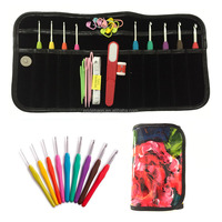 2015 New Design 9pcs Crochet Hooks with PU Bag case and Knitting accessories