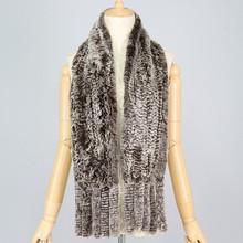 QC6053 brown genuine rex rabbit fur knitted scarf/ shawl with tassels