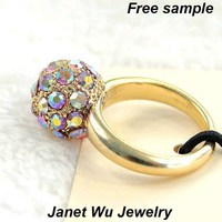 Free Shipping Express Free Sample Hottest Fashion Cheapest Women Jewelry Zinc Alloy Metal Stone Ball Ring