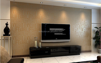 Brown / Gray / Pink / Beige / White Flock Words Textured Letters wallpaper Embossed wall paper wall covering WP059