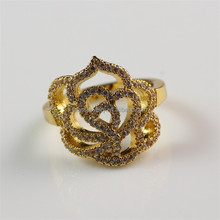 18K Gold Plated Brass CZ Inlay Fashion New Indian Ladies Gold Finger Ring
