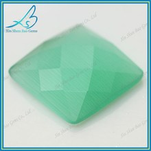 High Quality Good Polished Green Synthetic Cat Eye Stone Beads