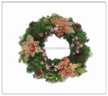"Natural Wood pinecone berry Xmas Green color wreath 18"" 46cm"