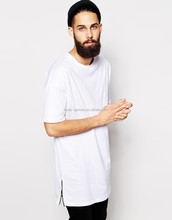 Long line t shirt with side zippers, cotton blank long tee for men