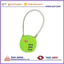 Colorful Fashionable TSA 3-Dial Lock and Cable/ tsa cable lock