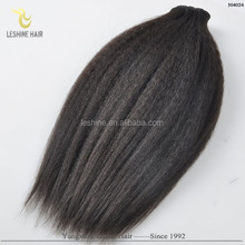 Fashion Popular Natural Black Human Hair Yaki Curl Hair Weaving