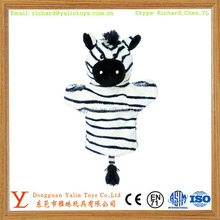 Best sale amusing animal shaped plush stuffed toy zebra hand puppet with tail 2015 funny design