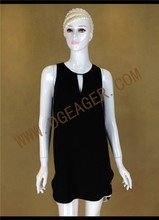 Original Design New Fashion Summer Dress Ladies Black Sleeveless Simple Shift Dress