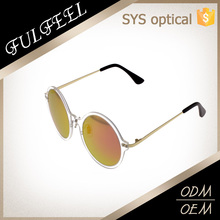 New style round plastic steel frame filmy metal temple polarized sunglasses