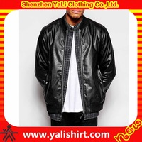 Custom made china factory low price utility plain waterproof black leather pilot jacket for men