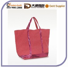 Red Linen Plain Shopping Bag Organizer