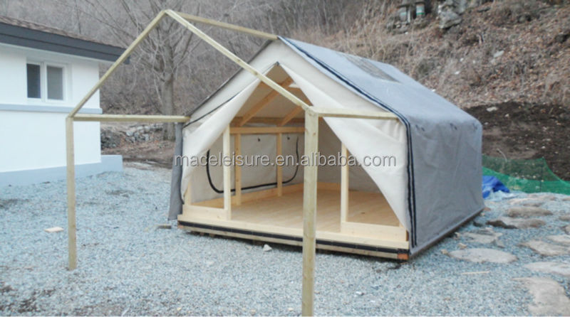 100 canvas waterproof permanent outdoor glamping tent for Permanent tent cabins