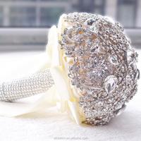 2015 NEW HandmadeHIGH Quality Customized full Brooch diamonds Silk Bride Wedding Bouquet