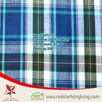 Yarn dyed green and blue large plaid polo shirt fabric