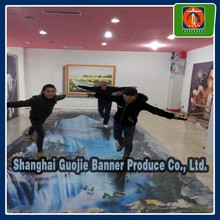 fationable waterfall design 3d removable floor sticker