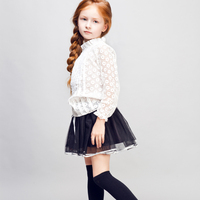 COOL KID ZONE 2015 Lace Long sleeve blouse and gauze skirt child girl Complete sets of clothes