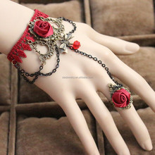 Wedding party lace rose flower bracelet with rose ring fashion jewelry