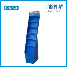 Customized Supermarket Retail Corrugated Cardboard Floor Display Shelf For Book Light