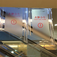 Acrylic lucite PMMA warning sign in hotels market elevator, CAUTION plastic placard