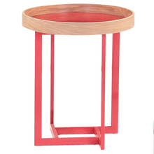 E5383 Red Cross Metal Frame and Bentwood Wooden Bed Side Table