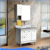 Interior stainless steel decoration bathroom wash basin mirror cabinet