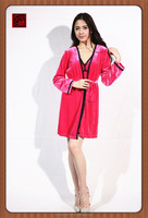Fashion red color chinese manufacture winter sleepwear long sleeve nightwear
