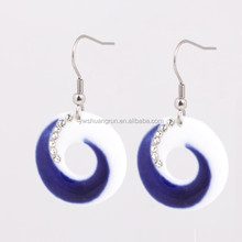 Promotional round hook ceramic earrings with crystals