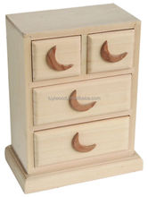 2015 New Design Unfinished Small Wooden Drawer Storage Boxes