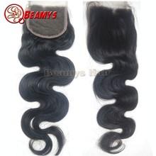Remy body wave unprocessed hair, virgin filipino hair top closure cheap