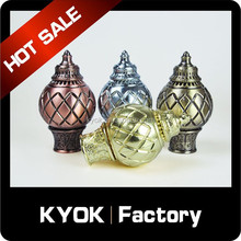 KYOK new listing 25mm&28mm metal curtain finial, copper rod curved curtain rod caps, Middle East hot sell twist curtain tops