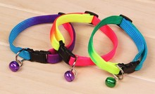 pet accessory/ dog coloful collar with bell /nylon small pet dog cat collar pet products