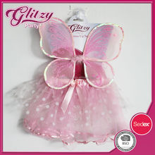 SW-1039 2015 Fairy Wings skirt light pink glitter butterfly bubble tutu with little white dots for girls