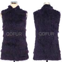 QD30304-9 Rabbit Fur Vest Gilet with Raccoon Fur Patchwork Formal Dress Weight Vest