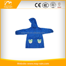 Lucky blue polyester kids raincoat with funny pattern